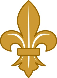 Gold Fleur de lis with White Lines