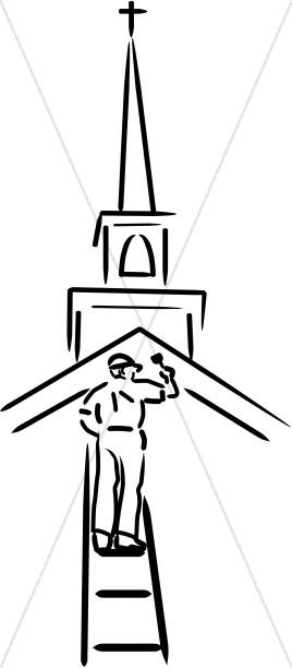 Deacon Tending to the Church