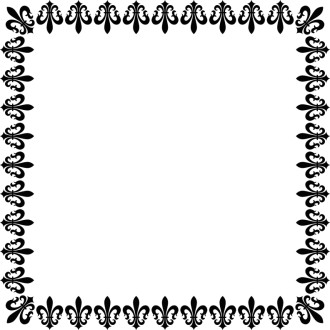 Square Fleur de Lis in Black and White