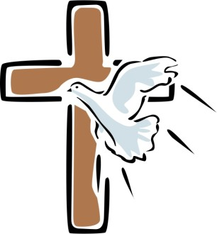 Outlined Cross with Flying Dove