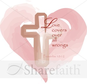 Heart with Cross and Love Proverb