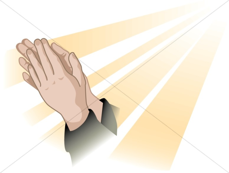 Gold Rays and Praying Hands