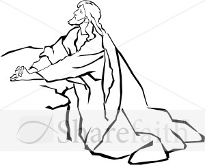Jesus in the Garden of Gethsemane in Black and White
