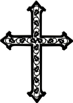 Cross with Ivy in Black and White