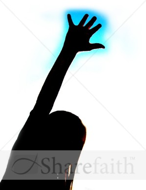 Female Hand Raise with Blue Shadow