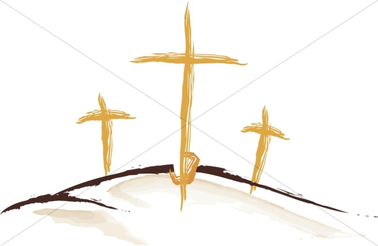 Three Gold Sketched Crosses
