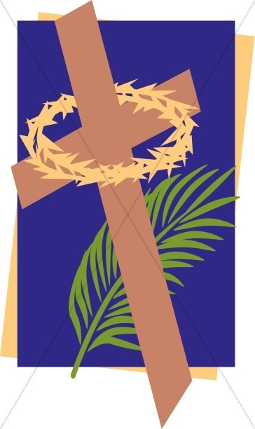 Lenten Cross with Thorny Crown and Palm