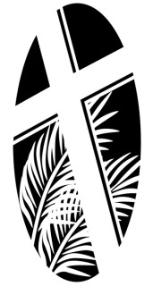 Oval Cross with Palms in Black and White