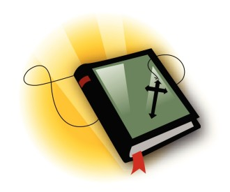 Bible with Cross Necklace and Rays