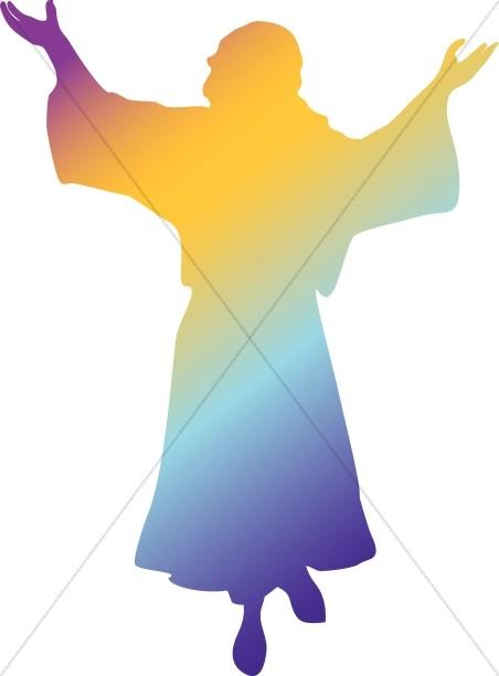 Rainbow Silhouette Jesus