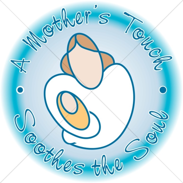 Mother's Touch in a Blue Circle