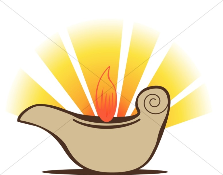 Oil Lamp With Flame And Rays Oil Lamp Clipart