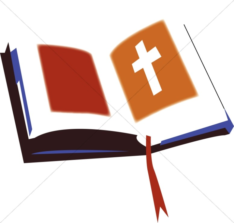 Open Bible with Red and Orange