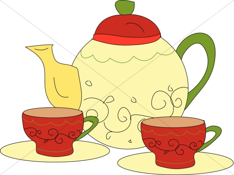 Tea Time with Pot and Cups