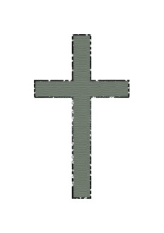 Green Cross with Outline