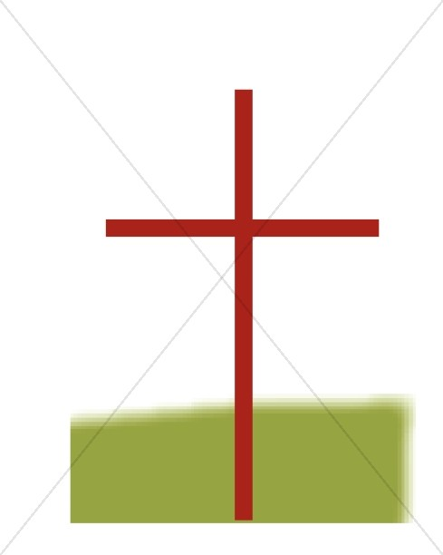 Red Thin Cross with Green