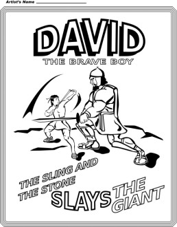 David the Brave Boy Coloring Page