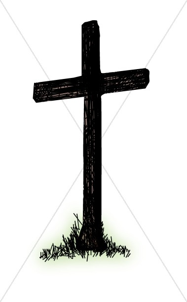 Brown Cross with Green Grass