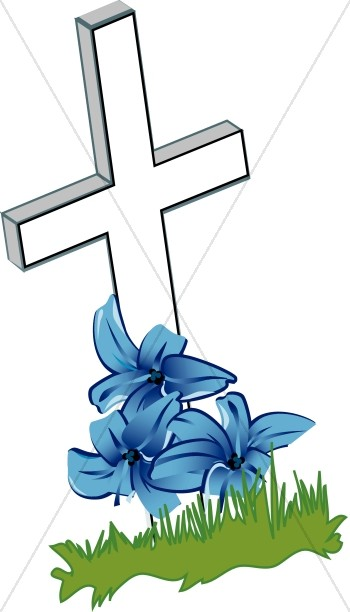 Cross with Blue Flowers and Grass