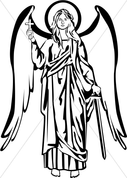 heavenly host of angels coloring pages | Black and White Angel Picture | Angel Clipart