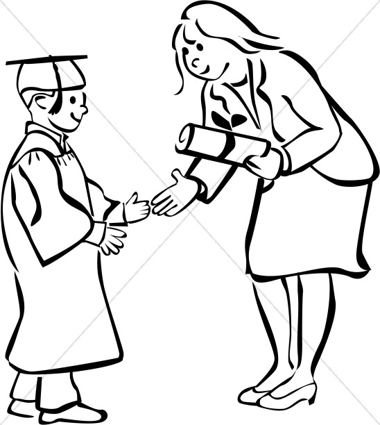 Child Graduate in Black and White