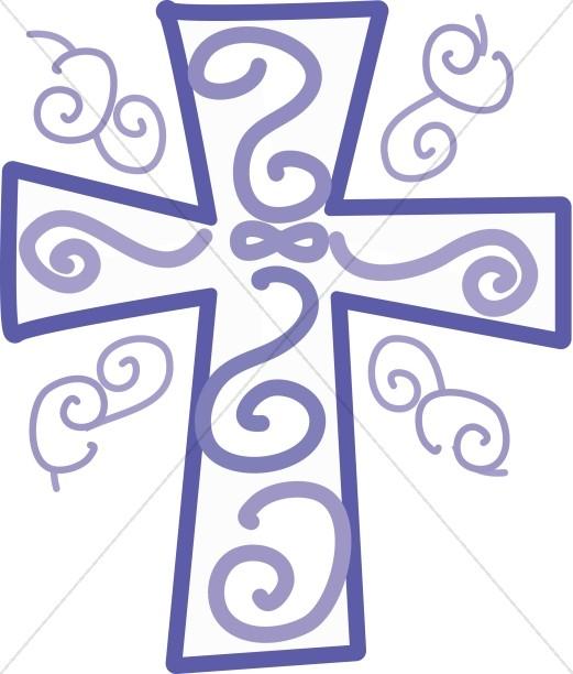 Cross with Purple Swirls