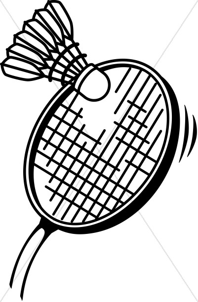 Badminton in Black and White Youth Program Clipart