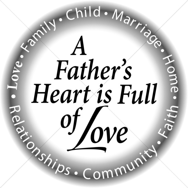 Circle with a Fathers Heart in B&W