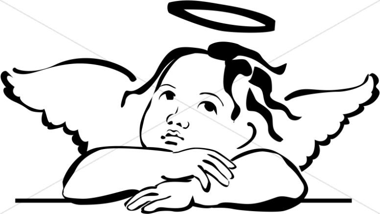 Angel Face Line Drawing : Cherubim clipart angel