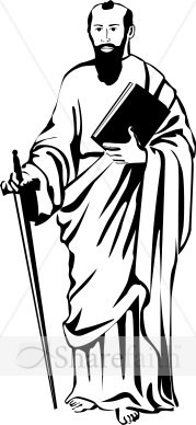 St. Paul in Black and White   New Testament Clipart