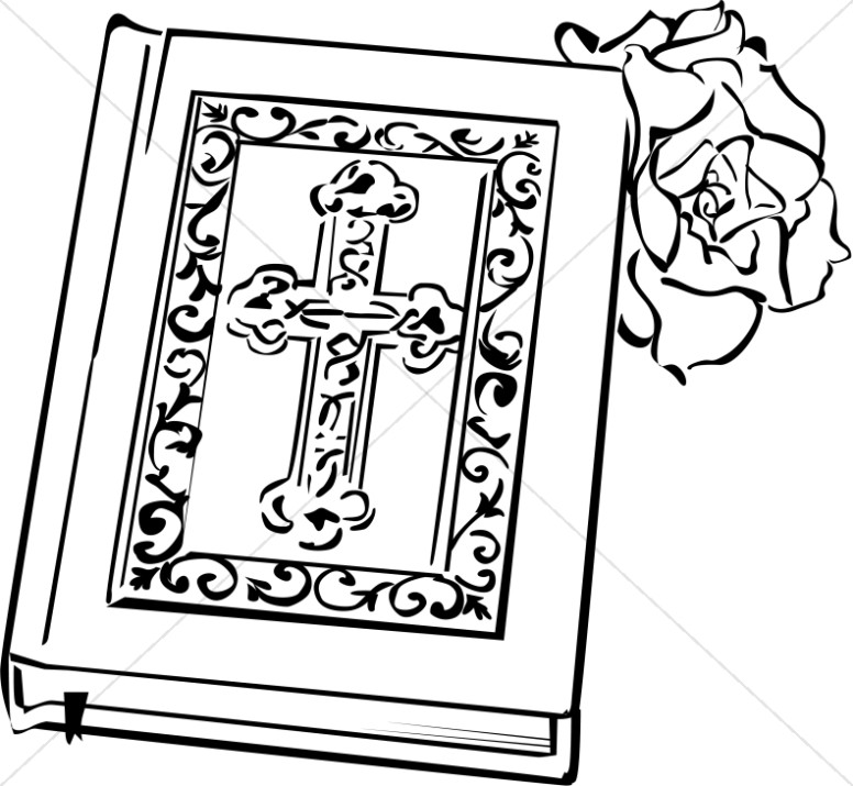 Ornate Bible with a Rose