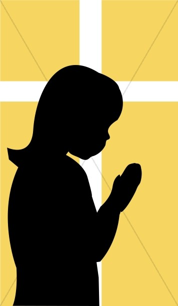 Praying Child with White Cross
