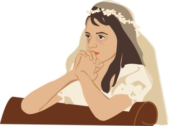 First Communion Girl with Veil