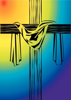 Wooden Cross with Shroud and Rainbow