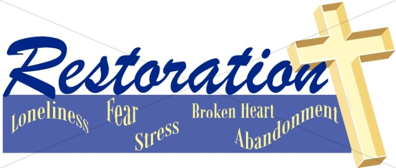 Restoration And Cross Inspirational Word Art