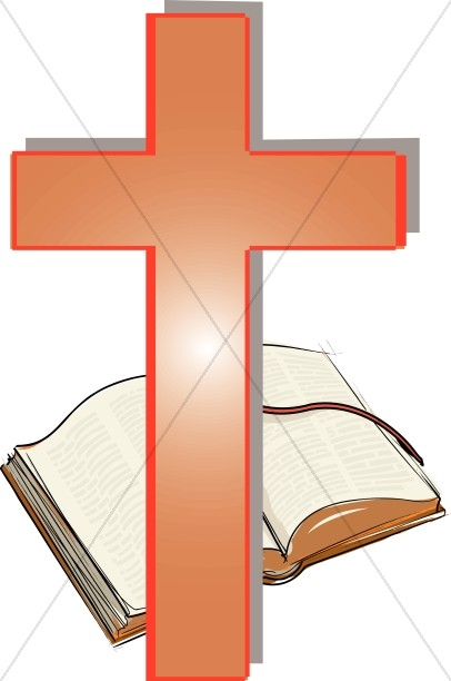 Orange Cross and Open Bible Clipart