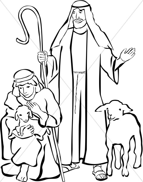 Line Drawing Nativity : Shepherds clipart nativity