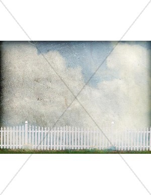 Sky with Clouds and White Picket Fence