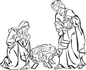 Mary and Joseph Delight in Baby Jesus