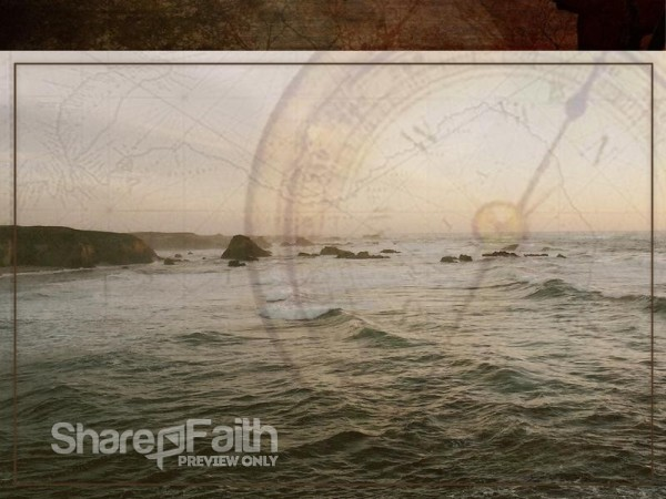 Ocean with Map and Compass