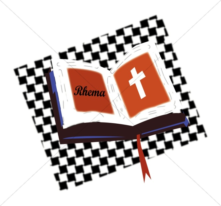 Open Bible on Checkered Pattern