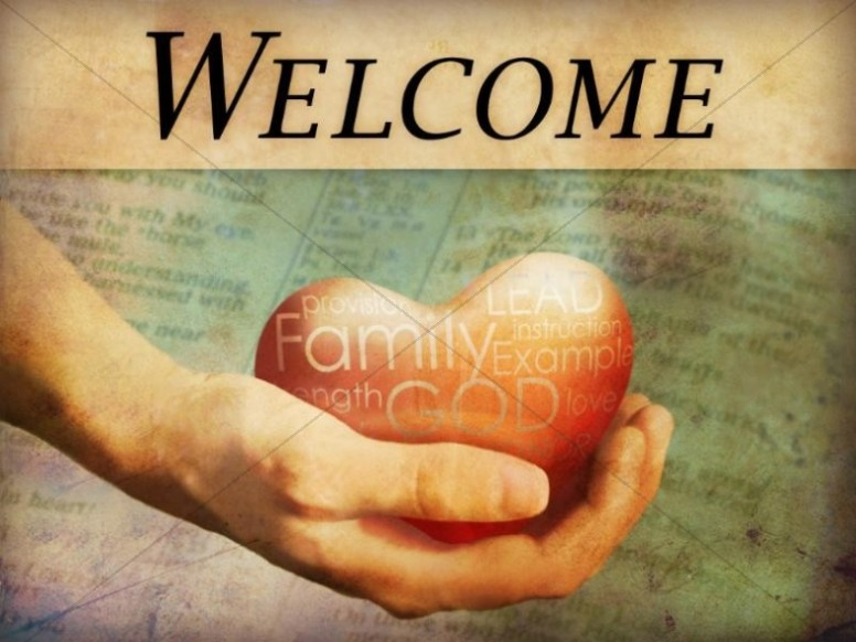 Welcome Background with a Hand and Heart