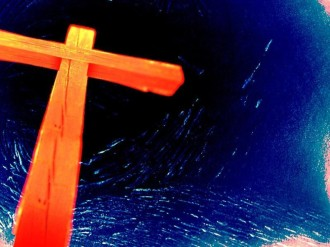 Well Lit Cross on Blue