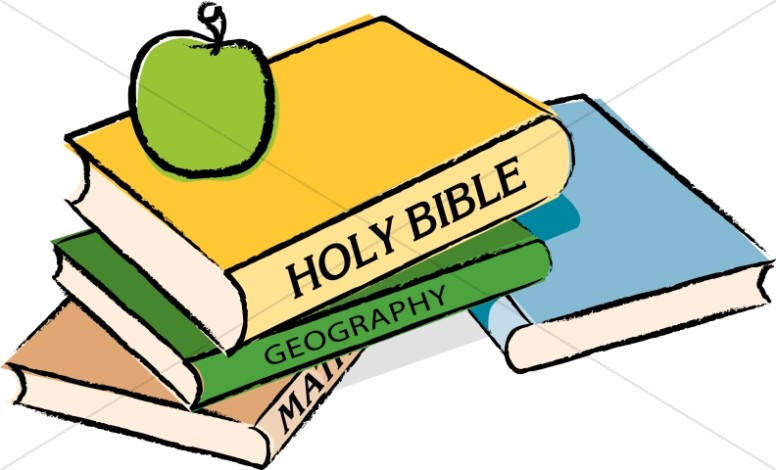 Bible with Books and an Apple