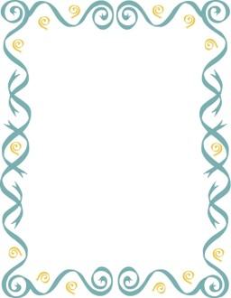 Blue Ribbons and Gold Curlies Border