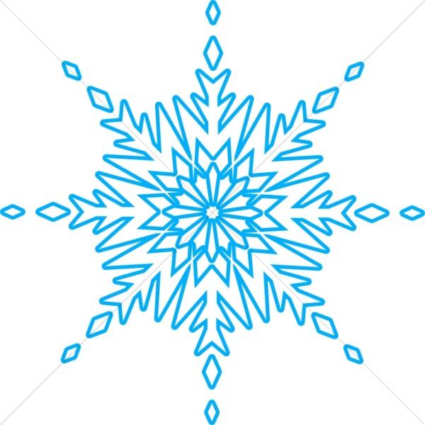 Circular Crystal Blue Snowflake