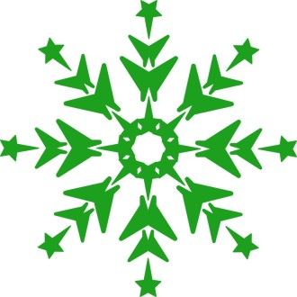 Green Wintry Snowflake