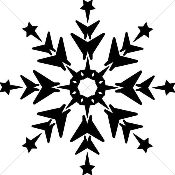 Black and White Snowflake with Stars