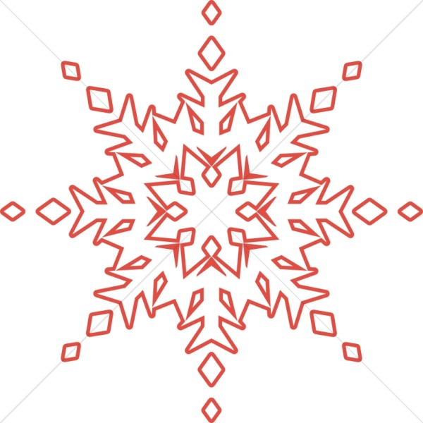 Unique Red Outlined Snowflake