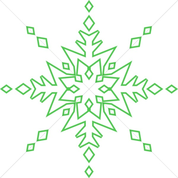 Green Line Art Snowflake